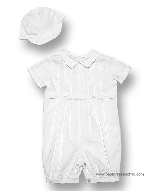 87dc36553daa Sarah Louise Infant Baby Boys Dressy White Romper   Hat