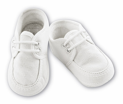 Sara Louise Infant Baby Boys Linen Quilted Christening Shoes with Laces - Ivory or White
