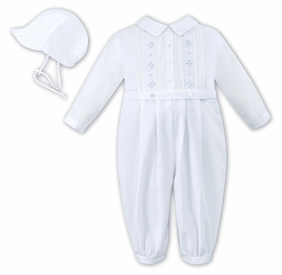 Sarah Louise Infant Boys White Romper with Hat - Smocked in Blue