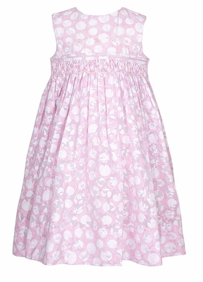 Sarah Louise Infant / Toddler Girls Sleeveless Pink / White Dots Voile Smocked Dress