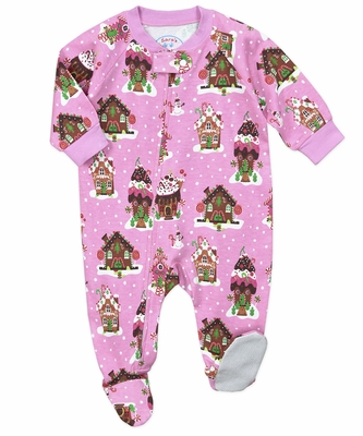 Sara's Prints Baby Girls Pink Holiday Gingerbread House Holiday Footie Pajamas