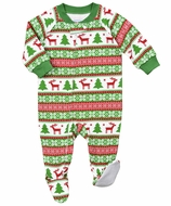 Sara's Prints Baby / Toddler Boys / Girls Green / Red Christmas Holiday Fair Isle Pajamas Footie