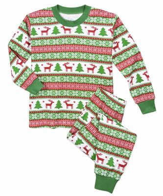 Prints Boys Green / Red Christmas Holiday Fair Isle Pajamas