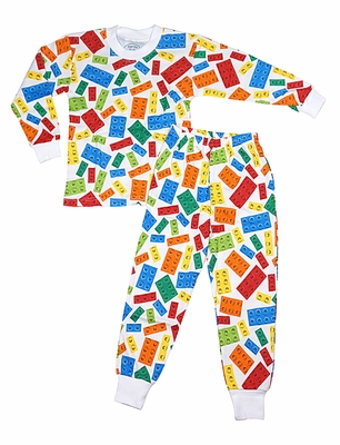 Sara S Prints Boys Lego Blocks Colorful Pajamas Two Piece