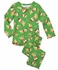 Sara's Prints Girls Green / Yellow Labs with Santa Hats Christmas Pajamas