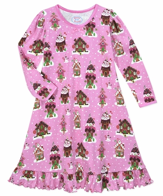 Sara's Prints Girls Pink Holiday Gingerbread House Nightgown