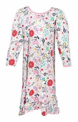 Sara's Prints Girls Pink Precious Blooms Flower Print Long Sleeved Nightgown