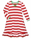 saras prints girls red white candy cane stripes christmas nightgown - Girls Christmas Nightgowns