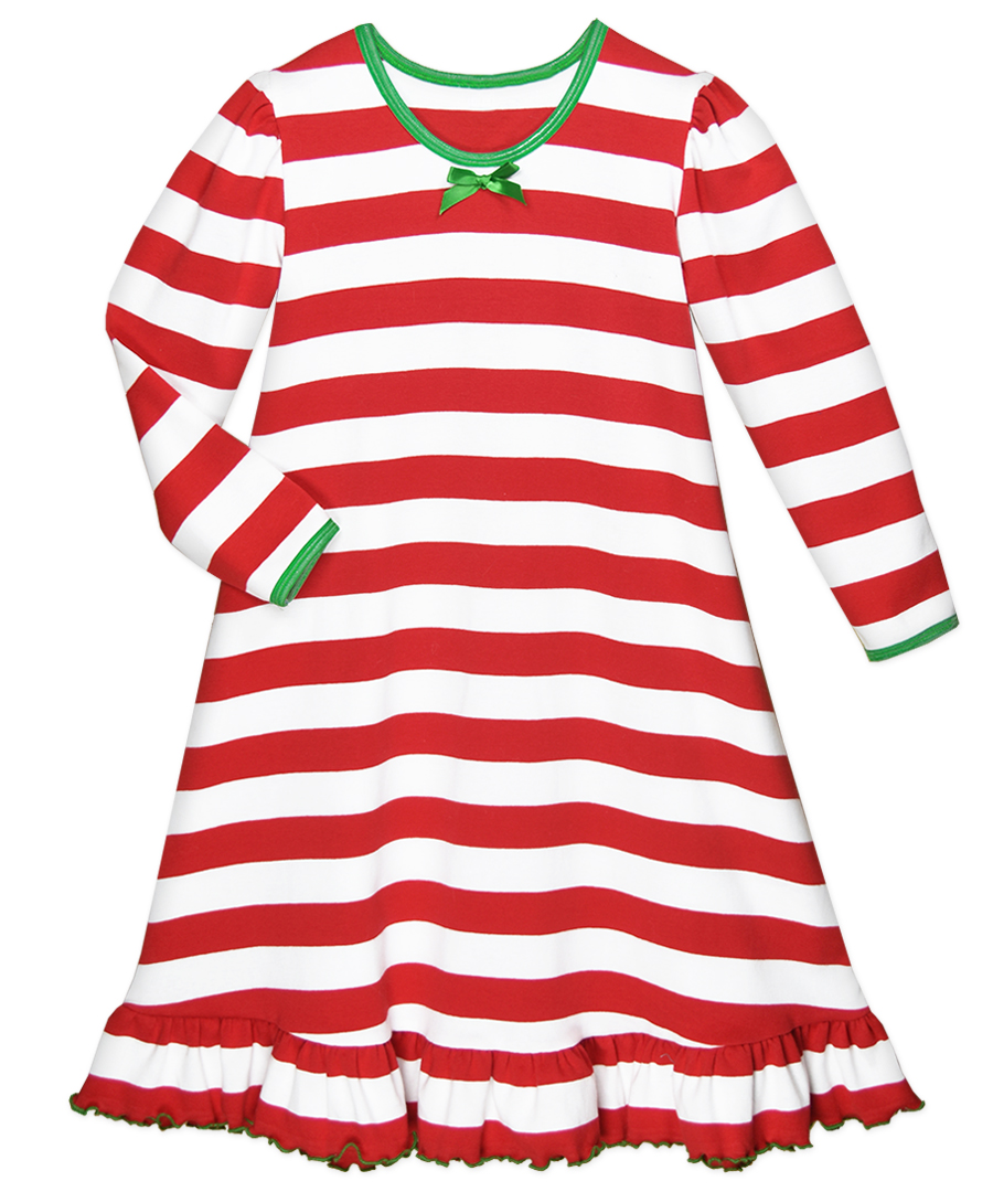 Sara\'s Prints Girls Red / White Candy Cane Stripes Christmas Nightgown