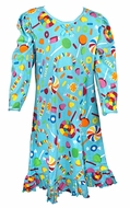 Sara's Prints Girls Turquoise Candyland Print Long Sleeved Nightgown