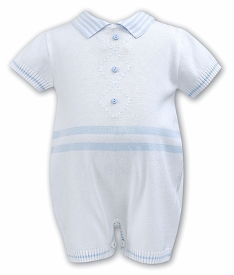 Sarah Louise Baby Boys Blue / White Argyle Sweater Knit Romper