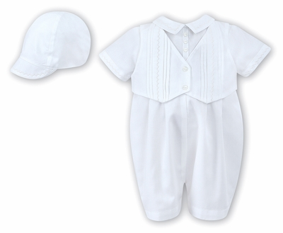 Sarah Louise Baby Boys Dressy White Vested Romper with Cap