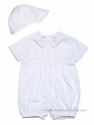 Sarah Louise Baby Boys Dressy White Embroidered Romper with Hat