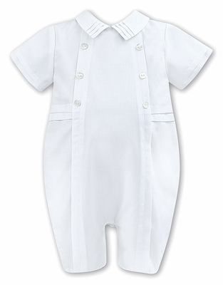 Sarah Louise Baby Boys Dressy White Romper with Collar