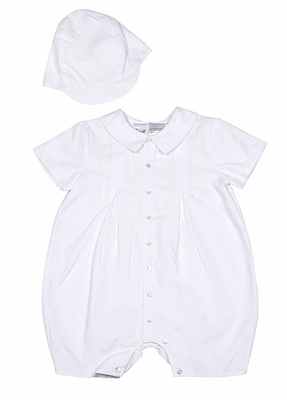 Sarah Louise Baby Boys Embroidered White Romper with Cap / Hat