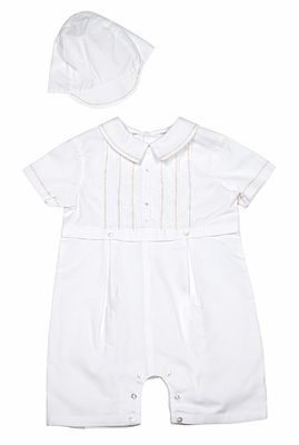 Sarah Louise Baby Boys Ivory Romper with Beige Embroidery and Hat
