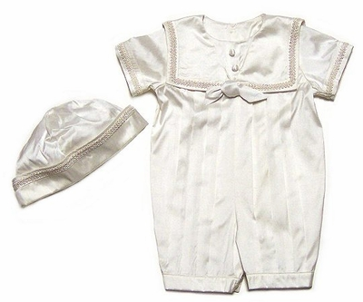 baa554384 Sarah Louise Baby Boys Ivory Silk Sailor Suit Christening Romper with Hat -  SHORT Sleeves
