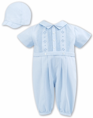 Sarah Louise Baby Boys Romper with Cap - Blue