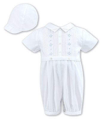 Sarah Louise Baby Boys Romper with Cap - White