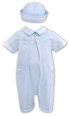 Sarah Louise Baby Boys Sailor Suit Romper with Hat - Light Blue