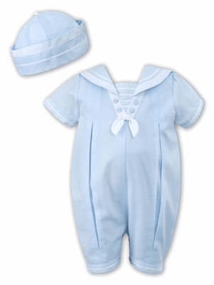 33cc1993bfb53 Sarah Louise Baby Boys Sailor Suit Romper with Hat - Light Blue