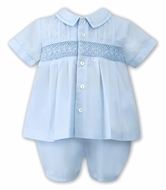 Sarah Louise Baby Boys Smocked Two Piece Outfit - Blue