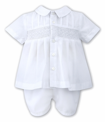 Sarah Louise Baby Boys Smocked Two Piece Outfit - White