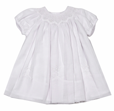 Sarah Louise Baby Girls Dressy White Voile Smocked Dress with Embroidery Details & Panty
