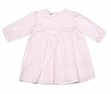 Sarah Louise Baby Girls Embroidered Dress with Lace Trim - Pink