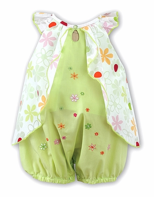 Sarah Louise Baby Girls Green Floral Overlay Bubble