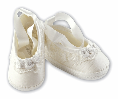Sarah Louise Baby Girls Ivory Silk or White Satin Christening Shoes - Rosettes and Ribbon