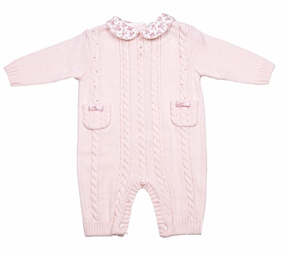 Sarah Louise Baby Girls Pink Cable Knit Sweater Romper With Floral