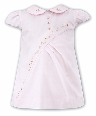 Sarah Louise Baby Girls Pink Dress with Floral Embroidery and Collar