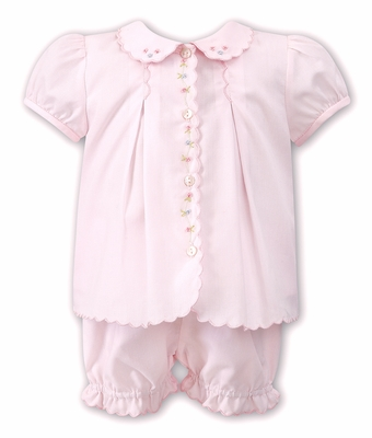 Sarah Louise Baby Girls Scallop Embroidered Diaper Set - PInk