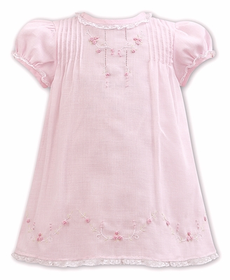 Sarah Louise Baby Girls Pink Slip Dress with Embroidery and Lace Trims