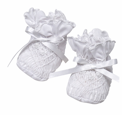Sarah Louise Baby Girls Smocked Booties - White