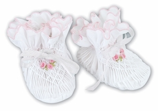 Sarah Louise Baby Girls Smocked Booties - White with Pink Rosettes