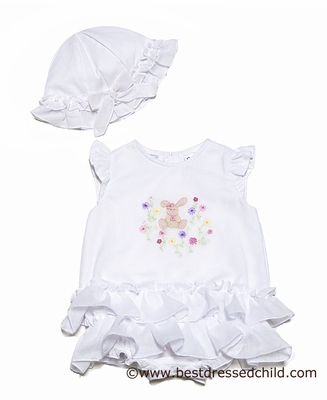 Sarah Louise Baby Girls Sweet White Ruffle Bubble with Bonnet - Shadow Embroidery Pink Easter Bunny