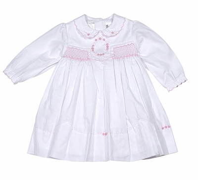 Sarah Louise Baby Girls White Dress - Embroidered / Smocked in Pink - Long Sleeves