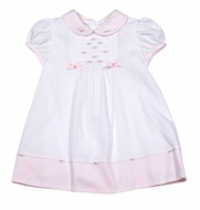 Sarah Louise Baby Girls White Embroidered Dress - Pink Trim and Collar