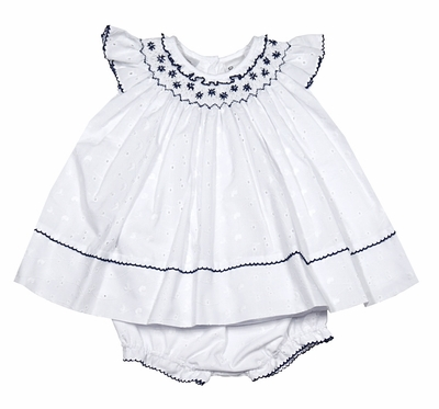 Sarah Louise Baby Girls White Eyelet Dress with Bloomers