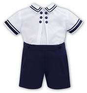 Sarah Louise Baby / Toddler Boys Sailor Suit Button On - Navy Blue