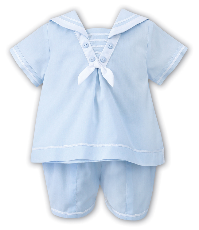 615f9d8f81ef Sarah Louise Baby / Toddler Boys Sailor Suit Shorts Set - Light Blue
