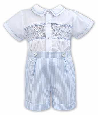 Sarah Louise Baby / Toddler Boys Smocked Blue Striped Button On Shorts Outfit