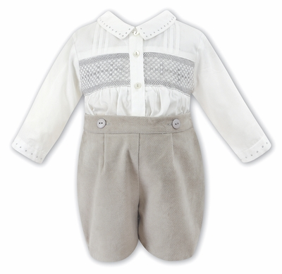 Sarah Louise Baby / Toddler Boys Smocked Button On Suit - Cord Shorts - Taupe