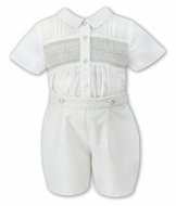 Sarah Louise Baby / Toddler Boys Smocked Button On Suit - Cord Shorts - Ivory / Ivory
