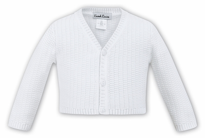Sarah Louise Boys V-Neck Cardigan Sweater - White