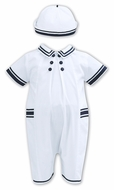 Sarah Louise Baby / Toddler Boys White Romper - Navy Blue Trim - Hat
