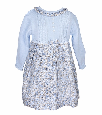 8035c0b30846 Sarah Louise Baby   Toddler Girls Blue Cable Knit Sweater Dress with ...
