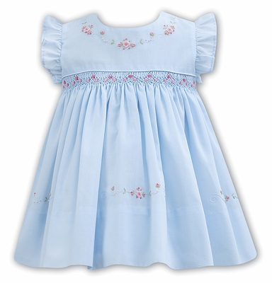 51215180f65bc Sarah Louise Baby   Toddler Girls Blue Dress - Flutter Sleeves - Smocked in  Pink with Pink Embroidery